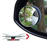 Ampper Upgrade 2' Round Blind Spot Mirrors, 360 Degree Adjustabe HD Glass Convex Wide Angle Rear View Car SUV Universal Fit Stick-On Lens, Pack of 4