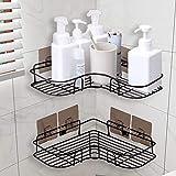H.Y 2 cestini per doccia, mensola angolare per doccia, senza fori con acciaio inox (mensola angolare)