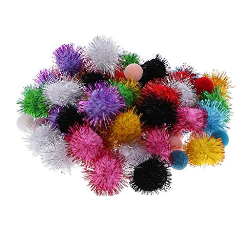 FLAWISH 80 Pieces Mixed Glitter Pompoms Fuzzy Pom Poms Sparkle Balls for DIY Creative Crafts Decoration Assorted Color