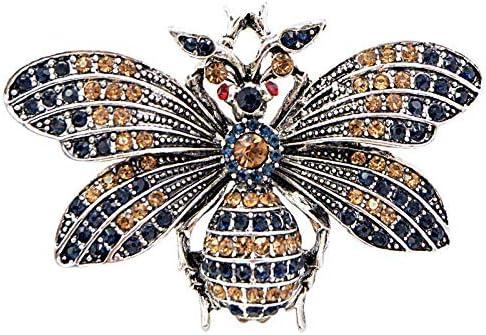 Lakke Vintage Rhinestone Vintage Big Bee Brooch Red Eye Insect Brooches Summer Coat AccessoriesJewelry
