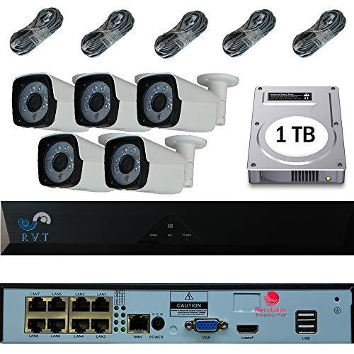 RIVELT Kit Videosorveglianza Nvr 8 CANALI Poe H265 con 5 Telecamere 2Mp Ip POE E HARD DISK 1 TERA INCLUSO 5 pezzi da 15 metri cavo omaggio