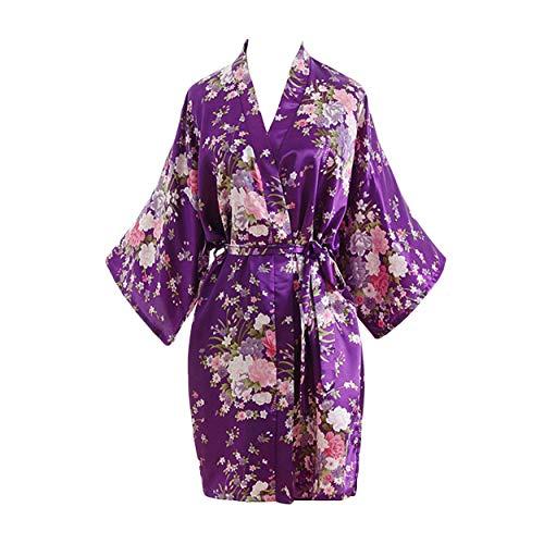 YUAKOU Donna Elegante Vestaglia Scollo a V Pigiama Kimono, Fiore Camicia da Notte in Raso con Cintura per Spa Casa Hotel Nozze
