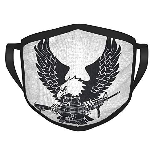Nicegift Geier mit amerikanischem M4-Sturmgewehr in Pfoten Erwachsene Masken sind atmungsaktiv, waschbar und wiederverwendbar
