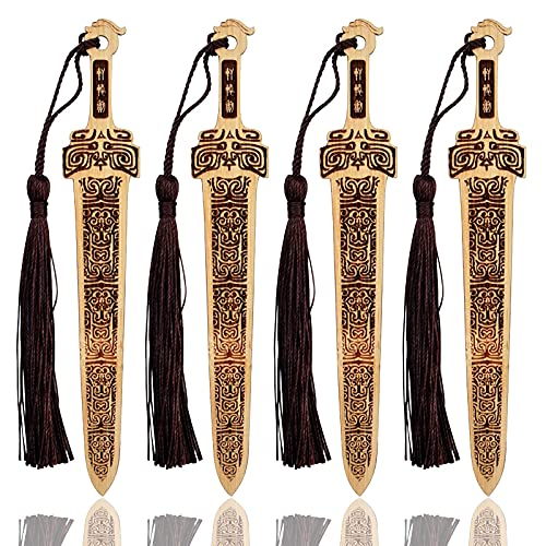 4 Pcs Wooden Sword Bookmark, Unique Bookmarks for Book Lovers, Handmade Natural Bamboo Bookmark with Beautiful Tassels, Unique Gifts for Teachers Students Men Women and Kids