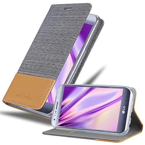 Cadorabo Hülle für LG X CAM in HELL GRAU BRAUN - Handyhülle mit Magnetverschluss, Standfunktion & Kartenfach - Hülle Cover Schutzhülle Etui Tasche Book Klapp Style