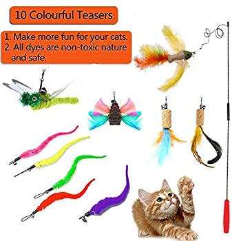 Aidiyapet Cat Dangler Toy Training Télescopique interactif rétractable Naturelles Plume Wand Cat Toy avec 10 recharges de Plumes