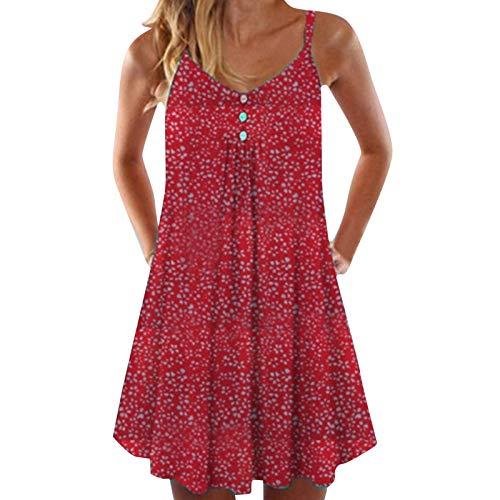 YANFANG Vestidos Cortos Mujer,2021 Vestido de Playa Floral Sexy Multicolor de Moda y Verano Informal para Mujer, Red,XXL