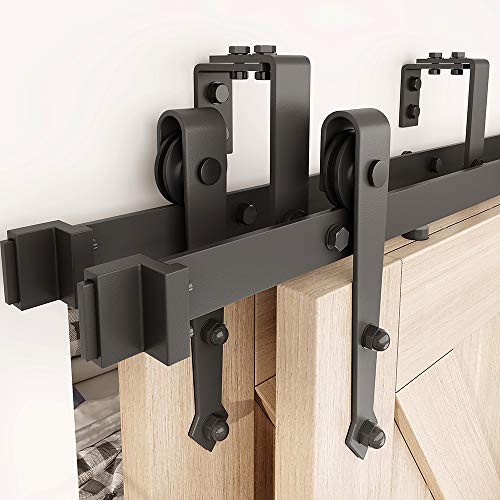 ZEKOO Black Steel 10 FT Sale Bypass Sliding Barn Door Hardware Track for Double Wooden Doors Closet Kitchen Kit Low Ceiling