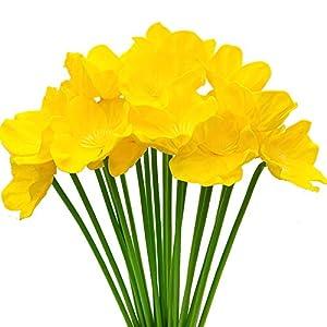 Aisamco 20 Piezas de Amapolas Artificiales de imitación de Flores de PU Ramo de Boda de 33 cm de Altura para el hogar…