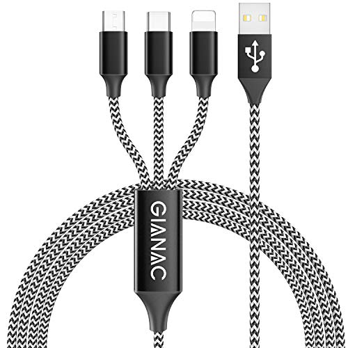 GIANAC Multi Cavo di Ricarica, [1.5M] 3 in 1 Multiplo Cavetto Micro USB Tipo C Nylon Intrecciato Cavo di Ricarica USB per Google Pixel,Samsung Galaxy,Huawei,Honor,Xiaomi,Nexus 6P 5X,LG