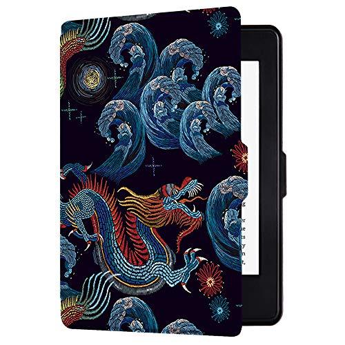 Huasiru Pintura Caso Funda para Kindle Paperwhite - no es Compatible con la versión del 2018 (10.ª generación), Dragón Negro
