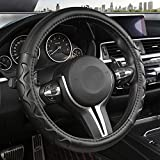 Black Panther Car Steering Wheel Cover with Wave Pattern Anti-Slip Design, 15 inch Universal - Black Line