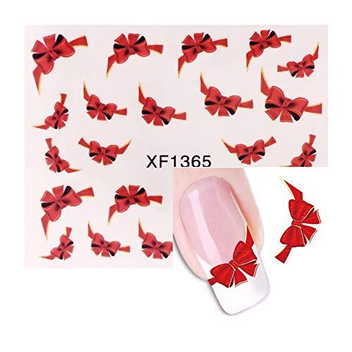 10 feuillesFancy Red Butterfly Tie Sweets Décalcomanies Ongles Autocollants Eau Marque Beauté Décorations Feuilles