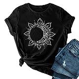 SLYZ Camisetas Casuales De Moda para Mujer, Camisetas De Manga Corta con Cuello Redondo Y Estampado De Verano, Camisetas Sueltas De Gran Tamaño para Mujer