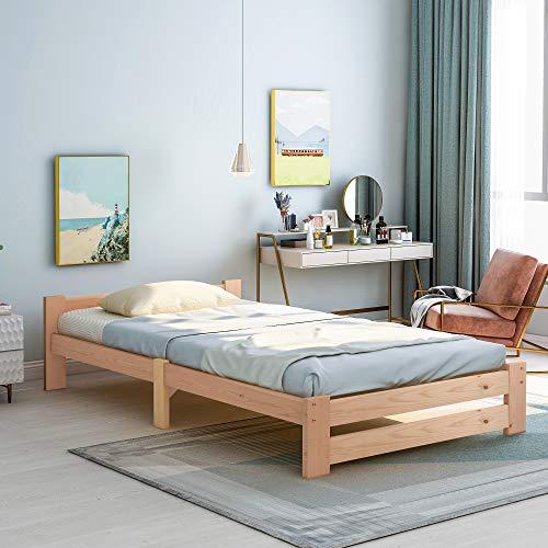 Cama futón de madera maciza natural, con cabecero y somier, natural (200 x 90 cm)