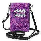 Goxegag Cartera multifuncional de piel para teléfono móvil, bolso de hombro pequeño, bolso de viaje con correa ajustable para mujer, diseño de Acuario