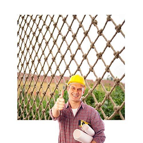 BZPOVB Red de cuerda de escalada para mascotas de yute, malla de malla de cáñamo, red decorativa de yute, loro o gato, red de porche, valla de jardín, decoración de techo (agujero de 6 mm, 10 cm)