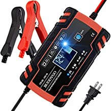 BUDDYGO Car Battery Charger, 12V/8A 24V/4A Fully-Automatic Smart Charger, Battery Maintainer Trickle Charger with LCD for Car Moto Truck Mower Boat RV SUV ATV SLA Wet AGM Gel Cell Lead Acid Battery