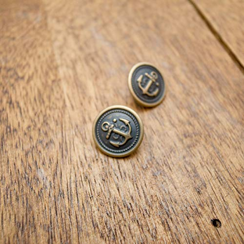 【丸型(マリンボタン/イカリボタン)】メタル(真鍮)ボタン#M503 1穴15mm C/#AG アンティークゴールド 2個セット