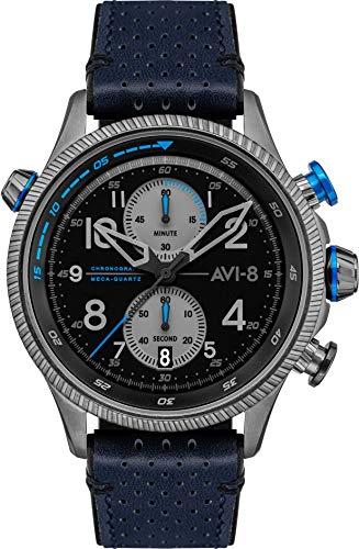 AVI-8 AV-4080-02 - Orologio meccanico da uomo, 44 mm, quadrante nero, cinturino in pelle blu