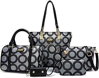 Womens 6 Pcs Shoulder Bags Top-Handle Handbag Tote Purse Set