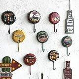 Homclo Retro Wandhaken Kronkorken Eisen Haken dekorativ Wandhaken Handtuchhaken Kleiderhaken Haken für Tür, Schlafzimmer, Wohnzimmer