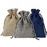 Vaorwne 24PCS 3-Suit Suit Burlap Gift Bag Beam Mouth Linen Christmas Candy Peque?A Bolsa de Arpillera