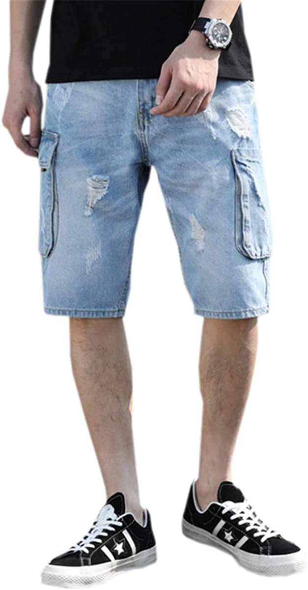 MIOUBEILA Men's Distressed Ripped Straight Fit Denim Shorts