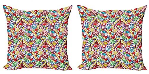 ABAKUHAUS bastón de Caramelo Set de 2 Fundas para Cojín, Bombones Lollipops, con Estampado en Ambos Lados con Cremallera, 50 cm x 50 cm, Multicolor