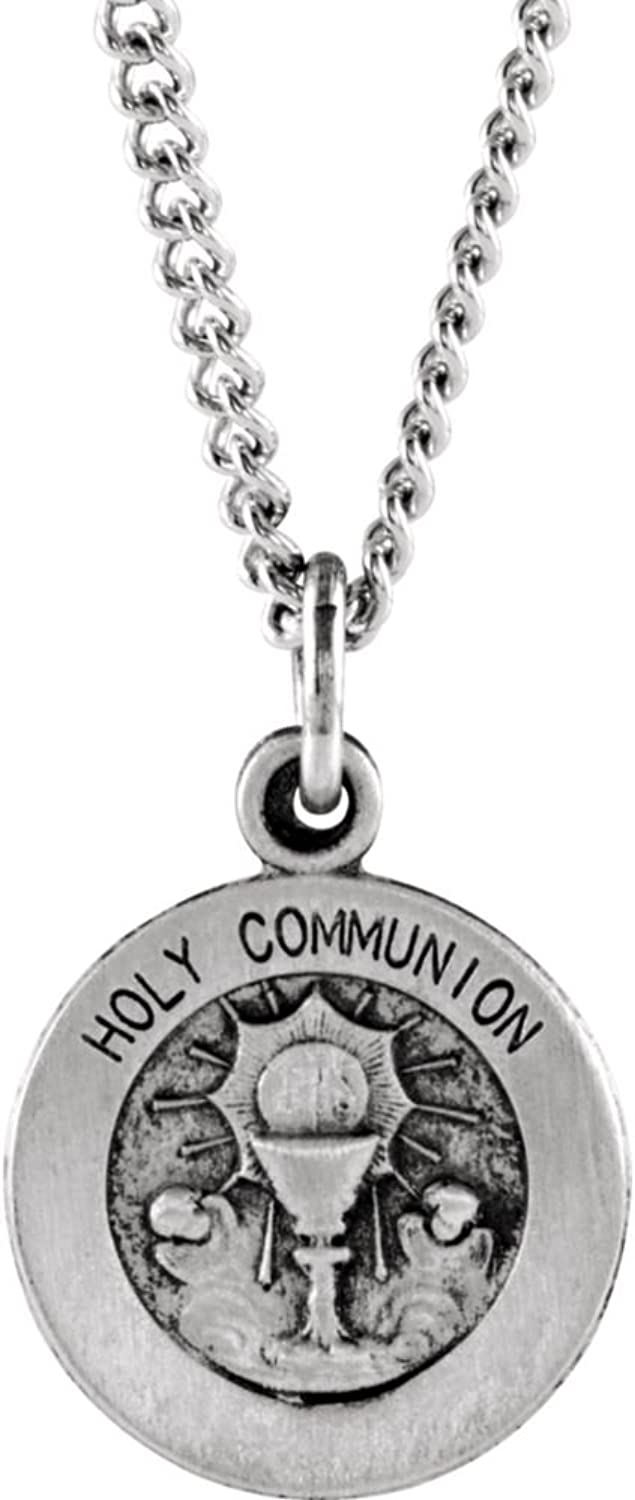 Bonyak Jewelry Sterling Silver 12 mm Round Holy Communion Medal with 18  Chain