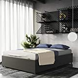 DHP Maven Upholstered Platform Bed with Storage and Bentwood Slats, Modern, Full, Grey Linen Grey Full
