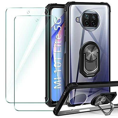 ivencase Funda Compatible con Xiaomi Mi 10T Lite 5G, 2 Pack Cristal Templado, Transparente Airbag Anti-Choque Protector Carcasa con 360 Grados Imán Soporte Silicona Bumper Case, Negro
