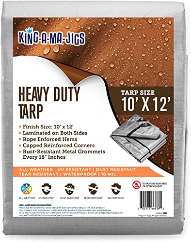 10x12 Heavy Duty Tarp, Waterproof Plastic Poly 10 Mil Thick Tarpaulin with Metal Grommets Every 18 Inches - Roof, Camping, Outdoor, Patio. Rain or Sun (Reversible, Silver and Brown) (10 x 12 Foot)