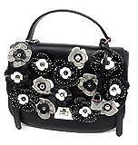 Michael Kors CASSIE Large TH Satchel Leather Handbag Bag, Black/Floral