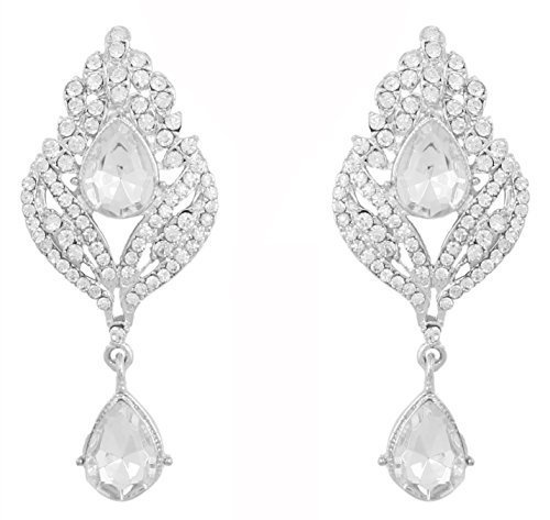 Touchstone Indian Bollywood stunning Rhinestone bridal designer jewelry earrings for women in silver tone