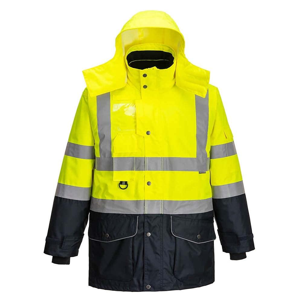Portwest Workwear Mens Hi-Vis 7in1 Contrast Jacket YeNa Small