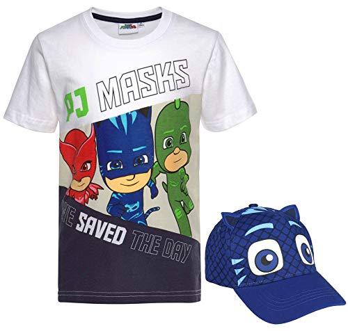 PJ MAASK T-shirt wit + cap bundel jongens set Cappy Catboy blauw de pyjamahelden kinderen maat 98 104 110 116 128