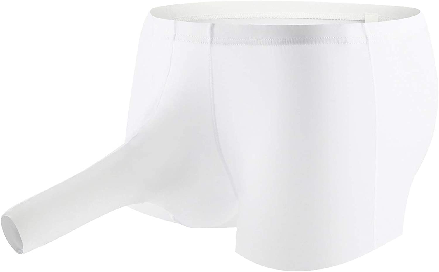 Men's Sexy Underwear Briefs with Sheath Nylon Soft Elephant Thongs T Back G-Strings Triangle Underpants (White- A, XXL)