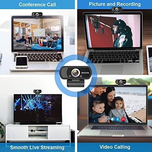 Anivia USB Webcam Full HD 1080p Laptop Webcam Mit Mikrofon Weitwinkel Eingebautes Stereo-Sound Mini Plug-and-Play Webcam-Videoanruf Videokonferenzen für Pc Windows 10