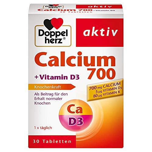 Doppelherz Calcium 700 + Vitamin D3 – Calcium zur Unterstützung des normalen Knochenerhaltes – 30 Tabletten