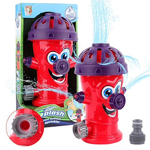 Fire Hydrant Sprinkler Toys Outdoor Water Activity Spray Sprinkler for Toddlers Boys and Girls-Spinning Cute Hydrant Shape Spray Sprinkler for Backyard Splash Games Courtyard Swirl Water Game for Summer