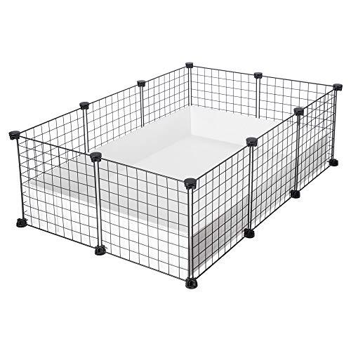 CagesCubes - Jaula CyC Medium (2X3 Paneles en Negro) + Base de Coroplast Blanco para cobayas