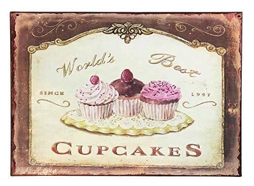 zeitzone Deko-Schild World`s Best Cupcakes Blechschild 19x27cm