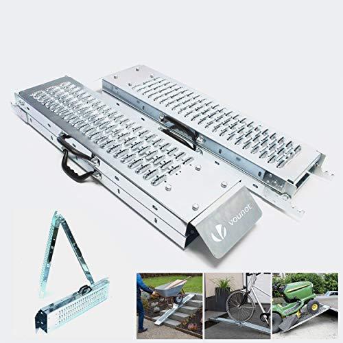 VOUNOT 2 x Rampe Pliable Rampe de Chargement 400kg Max Rampe Moto Tracteur Rampe Eclairage Remorque et Rampe d'acces Résistant et Pratique Taille 160cm x 22.5x4.5cm Rampe Voiture