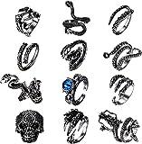 LOLIAS 9-12 Piezas Hombre Vintage Anillos Serpiente Punk Pulpo Dragón Anillos Abiertos Gótico Anillo para Hombres Mujeres Ajustable Anillo Joyería Regalo para Hombres Anillo Pack
