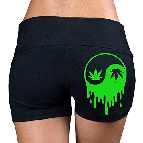 Women's Dripping Weed Yin Yang (Back) V363 Black Yoga Workout Booty Shorts Medium Black