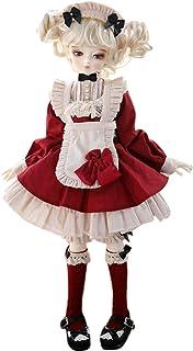 XSHION BJD Doll Girl Clothes, Doll Maid Apron Dress 5 Pcs Set for 1/4 BJD Doll Dress Up ClothingPretend Play Toy