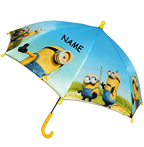 alles-meine.de GmbH Regenschirm - Minions -  Ich einfach unverbesserlich  - incl. Name - Kinderschirm Ø 70 cm - Kinder Stockschirm - Schirm / Kinderregenschirm - für Jungen / M..