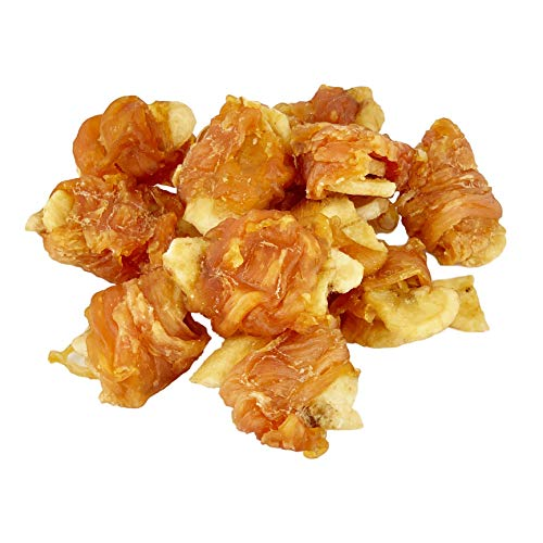 AVANZONA Snack per Cani, impacchi di Pollo e Banane, nutrizionali e da Masticare per Cani di Piccola, Media e Grande Taglia. 100 G.