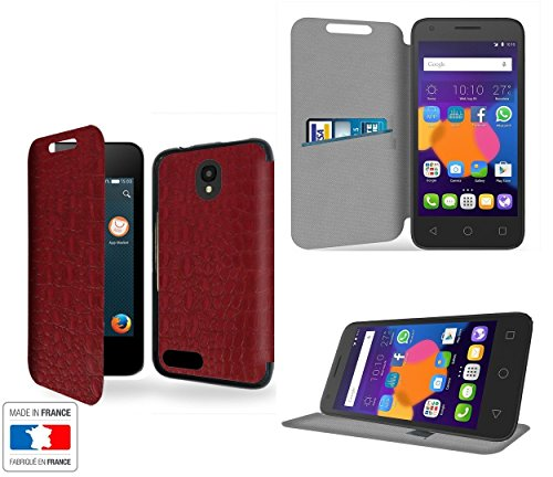 Alcatel Pixi 4 (3.5) Tasche Leder Style Rouge Cardinal Collection Crocodile Hülle Cover mit STAND -...